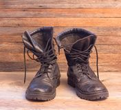 Old leather black military ankle boots Royalty Free Stock Photos