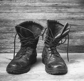 Old leather black military ankle boots Royalty Free Stock Photography