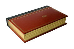 Old leather book. Old antique red leather bound book with gold embossed cover and gold edged pages Stock Image