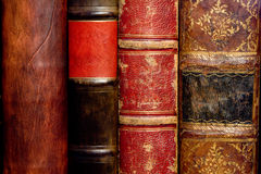 Old leather books' spines Stock Image