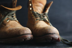 Old leather boots Royalty Free Stock Image