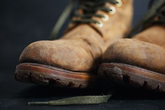 Old leather boots Royalty Free Stock Images