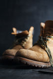 Old leather boots Stock Images