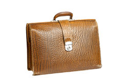 Old leather briefcase Stock Photography
