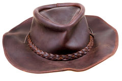 Old leather brown cowboy hat Royalty Free Stock Image