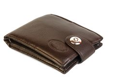 Old leather brown wallet isolated on white background stock images