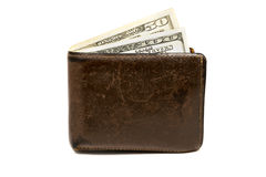 Old leather brown wallet with one  and fifty hundred dollars banknotes isolated on white background Stock Photography