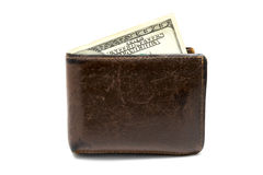 Old leather brown wallet with one  hundred dollars banknote isolated on white background Royalty Free Stock Photos