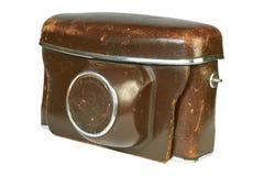 Old leather camera case. Isolated image on white background Stock Images