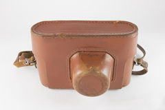 Old leather case camera Royalty Free Stock Image
