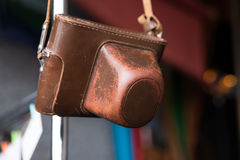 Old leather case for photo camera. Vintage, retro, brown. Royalty Free Stock Image