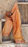 Old leather chaps on wood shelves. Royalty Free Stock Photos