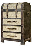 Old leather chest with many drawer isolate on whiate background Royalty Free Stock Photos