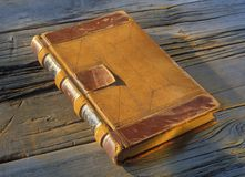 Old leather covered journal Stock Photos