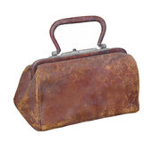 Old leather doctor's type bag isolated. Royalty Free Stock Images
