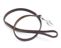 Old leather dog leash composition Royalty Free Stock Photos