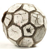 Old Leather Football. Old Well Used Leather Black Black and White Soccer Ball Royalty Free Stock Photography