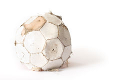 Old leather football on white Royalty Free Stock Photo