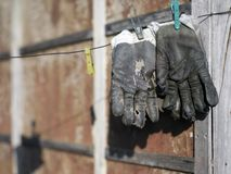 Old Leather Gloves Stock Photography