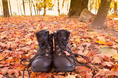 Old leather hiking boots autumn fall forest hike stock photography