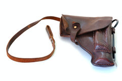 Old leather holster. Old brown leather military holster on overwhite background stock image