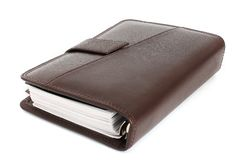 Old leather notebook. Retro style. royalty free stock photo