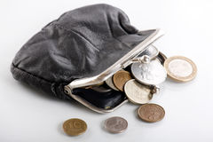 Old leather purse Stock Photos