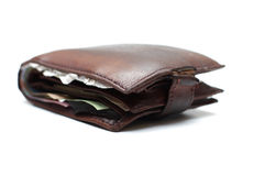 Old leather purse Stock Images