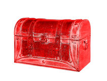 Old leather red suitcase Royalty Free Stock Images