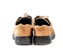 Old leather shoes on white background Royalty Free Stock Photos