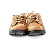 Old leather shoes on white background Stock Photography