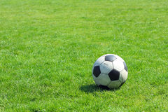 Old leather soccer ball Royalty Free Stock Photo