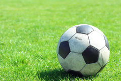 Old leather soccer ball Royalty Free Stock Photography