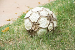Old leather soccer ball Stock Image