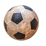 Old leather soccer ball Stock Images