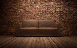 Old leather sofa in empty room with brich wall. 3d rendering. Old leather sofa in empty room with brich wall Royalty Free Stock Photos