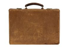Old leather suitcase. Isolated on white royalty free stock photos