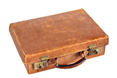 Old leather suitcase. Isolated on white Stock Photo