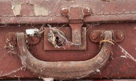 Old leather suitcase detail Stock Photos