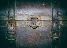 Old leather suitcase, fragment. Old brown leather suitcase with metal locks, detail, retro style Royalty Free Stock Photo
