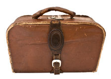 Old leather suitcase. Isolated on white background royalty free stock images