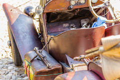Old leather suitcase on vintage car Royalty Free Stock Photography