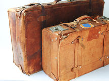 Old leather suitcases Royalty Free Stock Photos