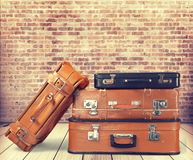 Old leather suitcases. Lock dirty aged two rundown Royalty Free Stock Photos