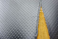Old leather upholstery Leather upholstery lack.  Stock Photo