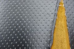 Old leather upholstery Leather upholstery lack Stock Images