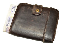 Old Leather Wallet And Bank Notes Stock Image