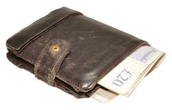 Old Leather Wallet And Bank Notes Royalty Free Stock Image