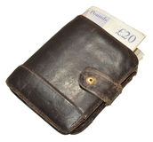 Old Leather Wallet And Bank Notes Royalty Free Stock Photo