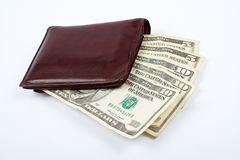 Old leather wallet with bills inside Royalty Free Stock Photos